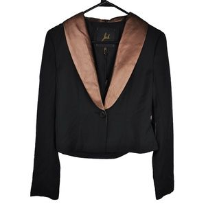 Black Bronze Faux Leather Suit Blazer Jacket